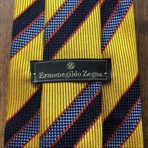 Ermenegildo Zegna Blue & Gold Striped Silk Tie